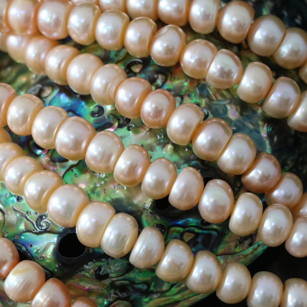 High quality orange 9-10mm natural freshwater pearl abacus beads hot sale women diy Fashion loose jewelry 15inch B1387