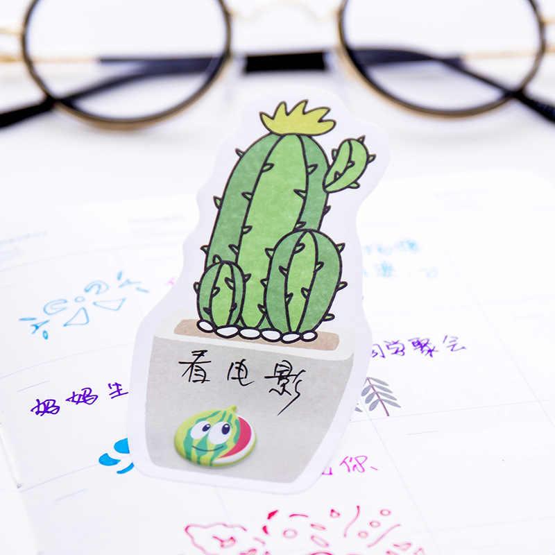 """Новые наклейки кактус, 4 шт./лот, милые наклейки """"растения"""", бумага, клейкие заметки, Канцтовары, школьные канцелярские принадлежности"""