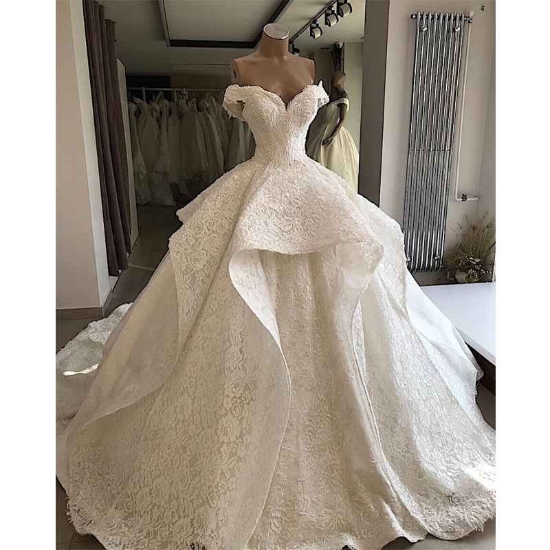 Luxury Customized Lace Beading Wedding Dress 2019 Sweetheart Off The Shoulder Lace Up Wedding Gowns Court Train Robe De Mariee