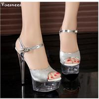 2019 New Nightclub Sexy Stage Show Shoes 15cm High heeled Sandals Silver Sequins Wedding Shoes Plus Size 34 43