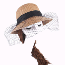 все цены на New Spring Summer Wide Large Brim Big bow Sun Hat Beach Hats Anti-UV Lace Net Yarn Wedding Hat For Women Straw Hat Wholesale1Pc онлайн