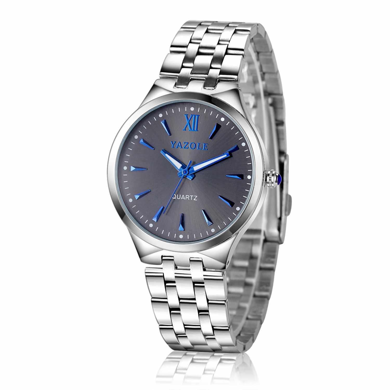 Os homens Assistir Ponteiro Azul Aço Inoxidável Moda Quartz Relógio De Pulso relojes pará hombre heren horloge zegarek orologio uomo mski