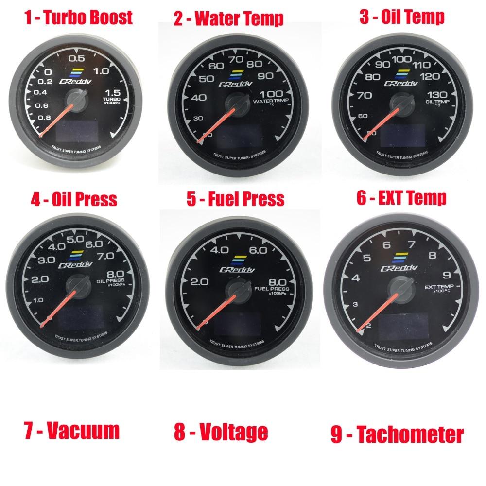 New RGB 64K Colors Racing GReddi Gauge with START Mode Turbo Boost Water Temp Oil Temp Oil Press Vacuum EGT Fuel Press Voltage