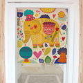 Chinese style cartoon animals kids tree decorative door curtains fabric cloth home screens partition bathroom kitchen curtains