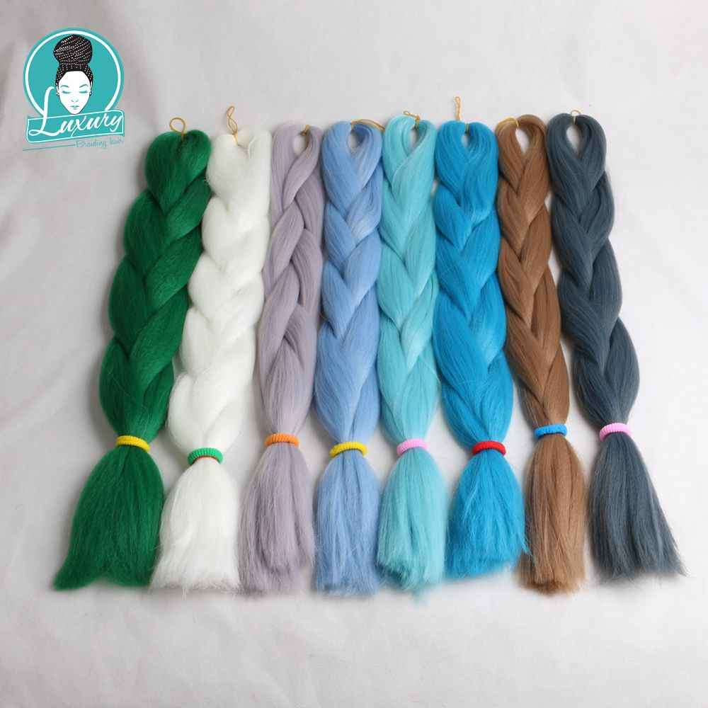 "1 paquete de lujo 24 ""60 cm doblado 80 gramos azul marino neón verde oliva lavanda Lila Vintage rosa sintético jumbo trenzado de pelo"