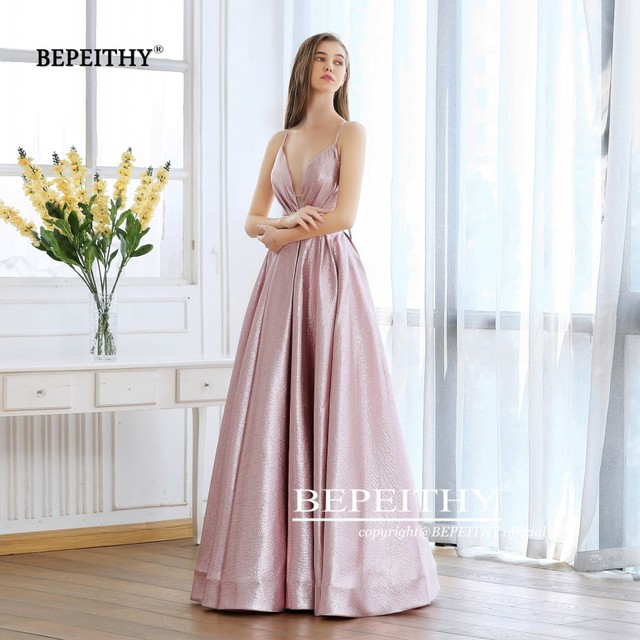 BEPEITHY Pink Glitter Long Evening Dress Party Elegant Sexy Cross Back A-line Shine Prom Dresses Vestido De Festa 2019 New 4