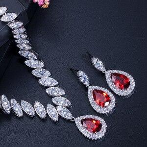 Image 3 - CWWZircons circonita cúbica de gota de agua nigeriana, cristales rojos, conjuntos de joyería para regalo de boda, para damas de honor, T110