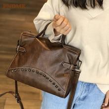 PNDME vintage genuine leather ladies handbag rivet bag cowhide leather locomotive shoulder bag cross women's messenger bags стоимость