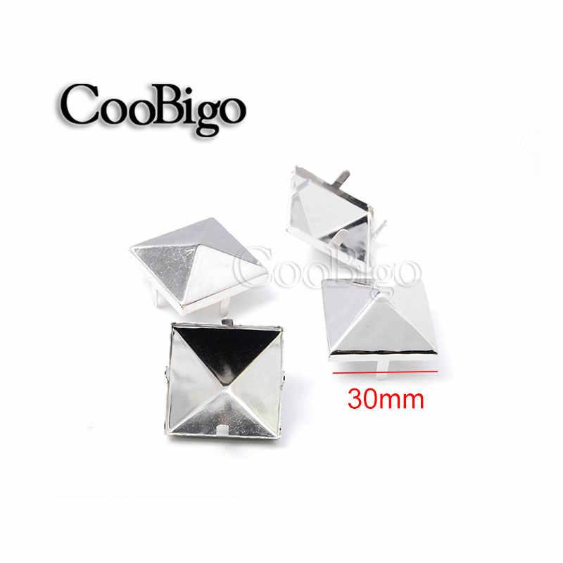 2 piezas 30mm pirámide remaches pico Nailheads Punk Rock cuero artesanía DIY pulseras bolsa de ropa zapatos cinturón accesorios de ropa