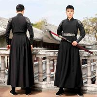 Men Hanfu Black Ancient Chinese Han Dynasty Traditional Costume Deluxe Male Halloween Costume Fancy Dress For Man Plus Size 2XL