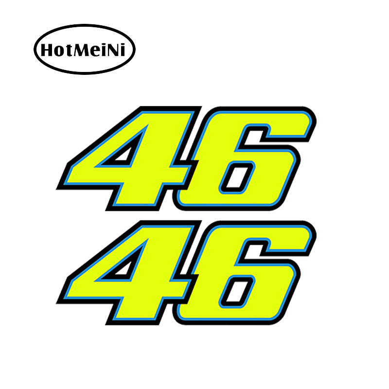 HotMeiNi 18cm*7.2cm 2PCS Number 46 Valentino Rossi Moto GP Car Styling Accessories JDM Car Stickers Window Bumper Vinyl Decal hotmeini car sticker jdm styling 3d window bumper decal vinyl truck van fridge waterproof classic f46 valentino rossi moto vr46