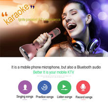 JIY Professional Bluetooth condenser Wireless Microphone Handheld Receiver MIC microfono bluetooth for karaoke recording TF card(China)