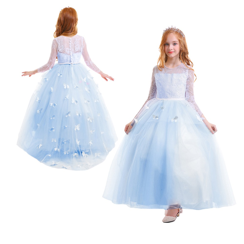 2019 Vintage Flower Girls Wedding Bridesmaid Dress for Kids Butterfly Tulle Lace Long Dress Elegant Princess Party Girls Dress2019 Vintage Flower Girls Wedding Bridesmaid Dress for Kids Butterfly Tulle Lace Long Dress Elegant Princess Party Girls Dress