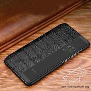 Image 3 - جلد طبيعي حالة لهواوي P20 برو حالة بتنبيهه الهاتف غطاء ذكي كوكه لهواوي P20 حالة مع نافذة عرض