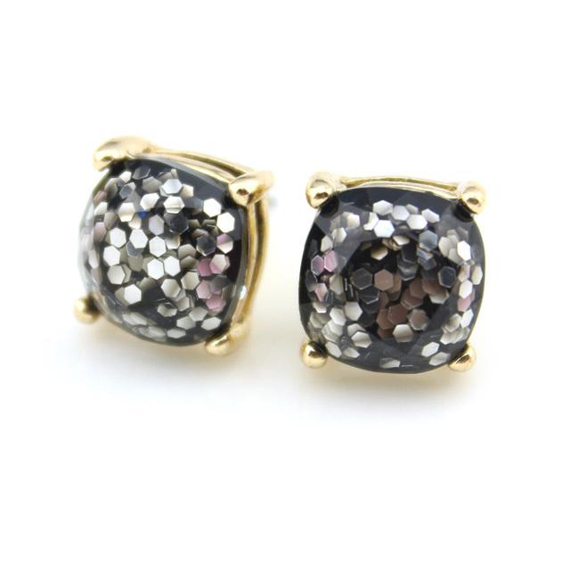 Women's Small Square Glitter Stud Earrings