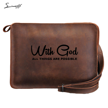 Smirnoff Engraved Letters WITH GOD ALL THINGS ARE POSSIBLE Classic Men Bag Genuine Leather ipad Bag Leather Men Messenger Bag