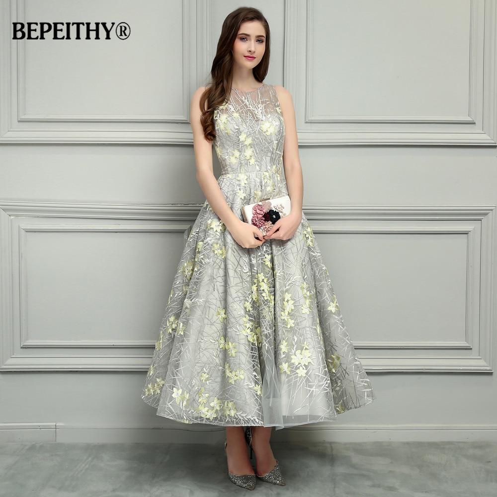 BEPEITHY O-צוואר באורך קרסול תחרה שמלות ערב Vestido De Festa סקסי גב הפתוח זול שמלה לנשף 2017 מכירה חמה