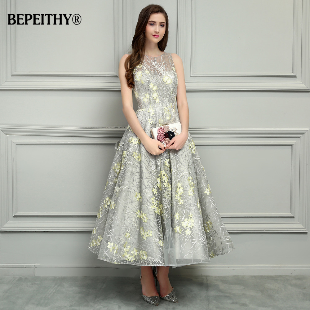 BEPEITHY O-Neck Ankle-Length Lace Evening Dresses Vestido De Festa Sexy Open Back Cheap Prom Dress 2019 Hot Sale