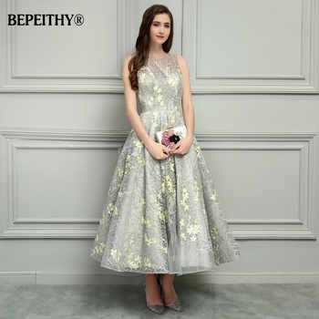 BEPEITHY O-Neck Ankle-Length Lace Evening Dresses Vestido De Festa Sexy Open Back Cheap Prom Dress 2019 Hot Sale - DISCOUNT ITEM  42% OFF All Category