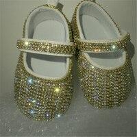 Cadeia de Strass de vidro Bling Bailarina Faísca Sapatos Cirb Bebê Carrinho De Bebê Batizado Deslumbrante Princesa presente Da Lembrança infantil caminhantes