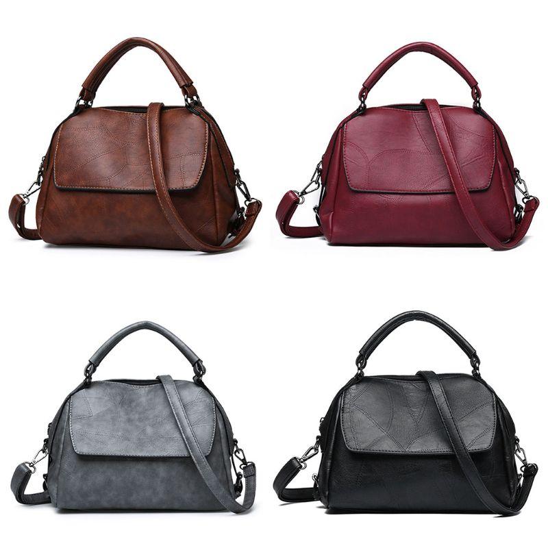 Retro Women Lady Soft Leather Handbag Top Handle Bags Tote Purse Shoulder Bag Satchel Messenger