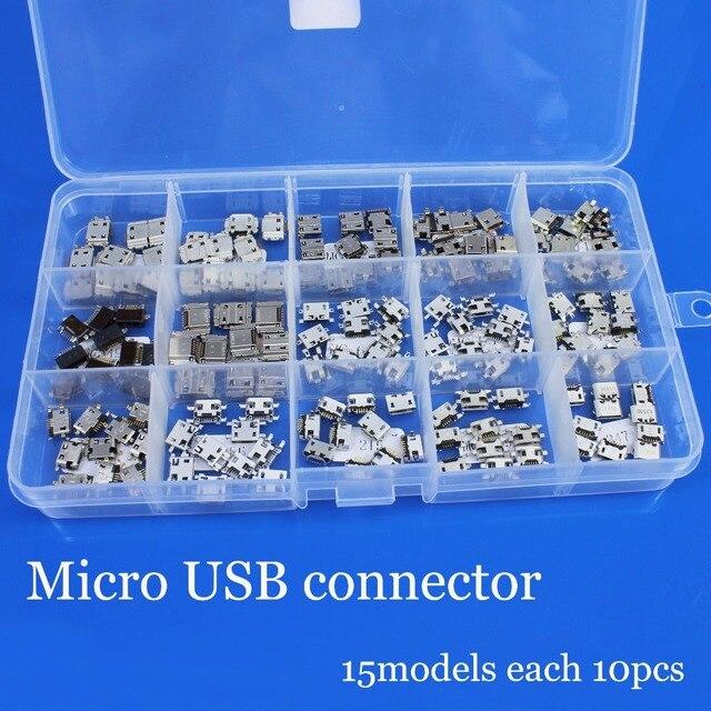 Conector Micro USB para Samsung, xiaomi, Lenovo, teléfono, tableta, PC, cola USB, 15 modelos, 5P, 5 pines