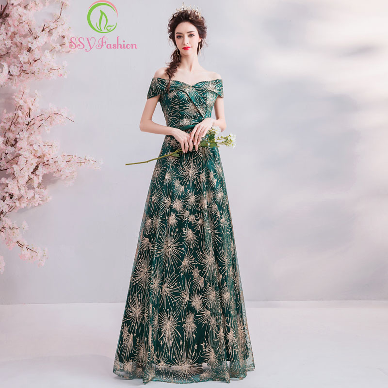 SSYFashion New Simple Long Evening Dress For Women Shiny Sequins Green Floor-length Banquet Elegant Formal Gown Robe De Soiree