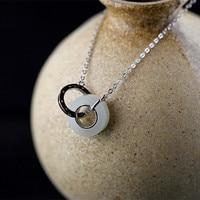 L&P Original Design Natural Jade 925 Silver Pendant Necklace for Women Gemstone Double buckle necklace Wholesale Gift