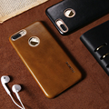 Floveme capa de couro genuíno para iphone 7 case de metal com o logotipo buraco de couro real magro retro casos de telefone coque para iphone 7 além de