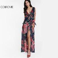COLROVIE Floral Split Sleeve Maxi Dress 2017 Sexy Open Back Women Surplice Front Summer Dresses Elegant