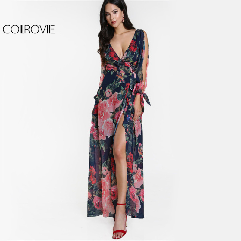 COLROVIE Floral Split Sleeve Maxi Dress 2017 Sexy Open Back Women Surplice Front Summer Dresses Elegant Wrap Boho Beach Dress