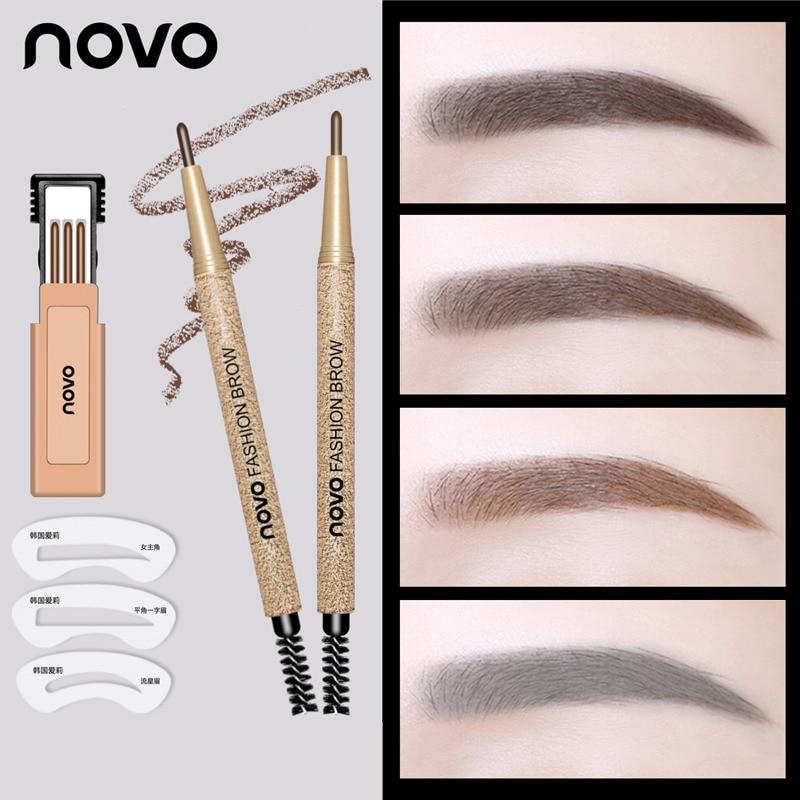 3pcs/lot NOVO Brow Makeup Set Eyebrow Pen + Refill + Eyebrow Stencils 4 Color Optional Long Lasting Eye Brow Pencil