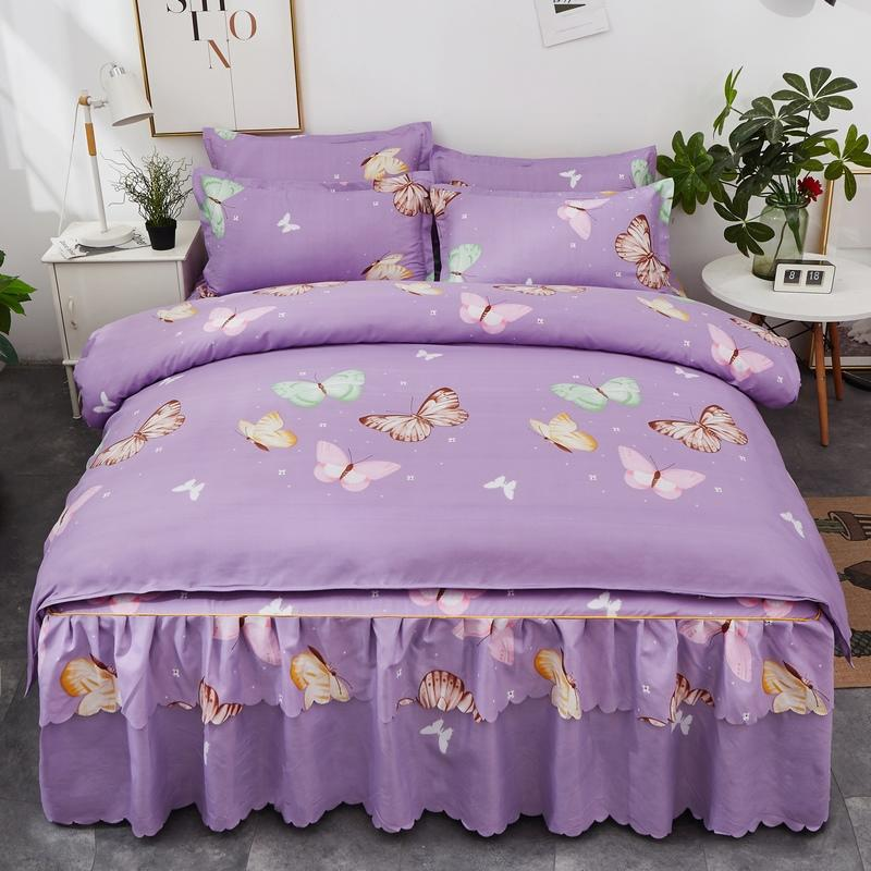 4pcs Butterfly Patterns Bedding Set High Quality Aloe Cotton Duvets Cover Bed Skirt Pillowcase Soft Comfortable