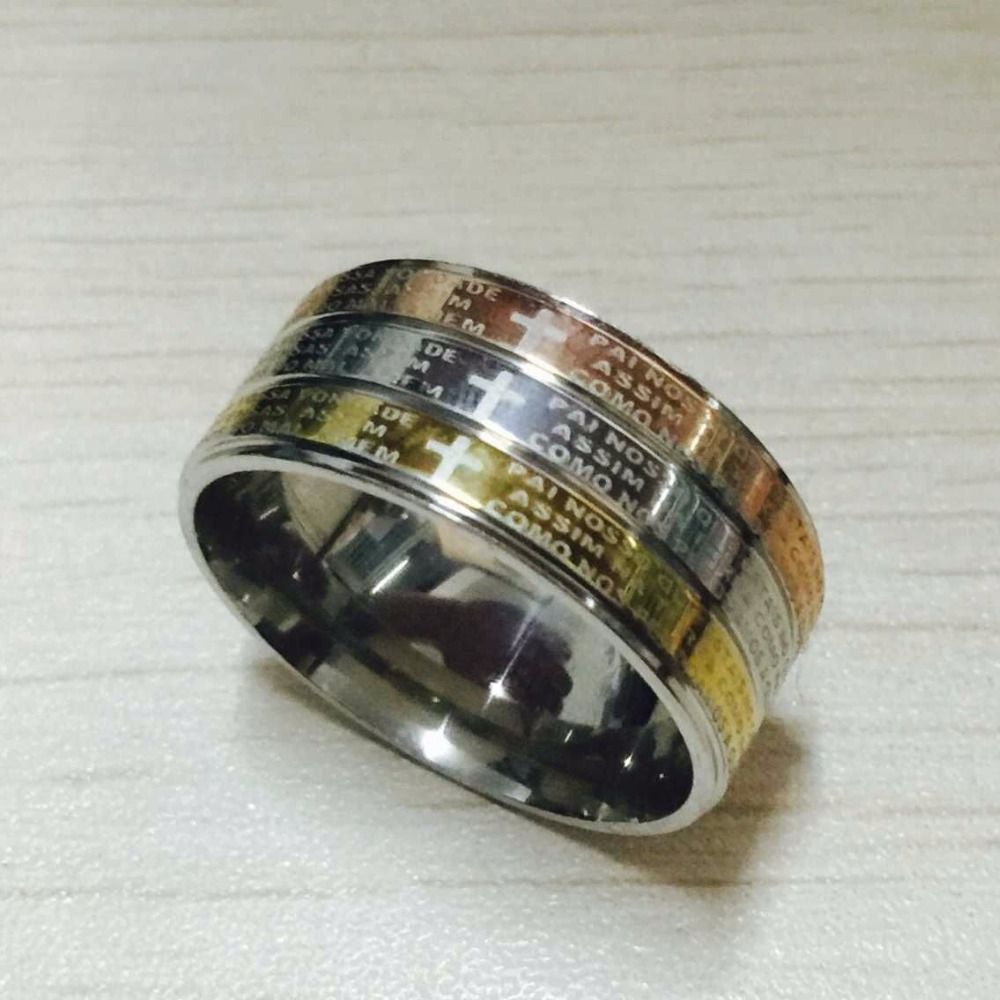 luxury brand large wide 12mm 316 titanium steel 18k white rose yellow gold plated pray letter - Large Wedding Rings