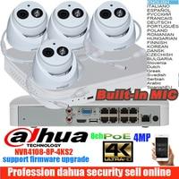 dahua mutil languag H265 DH 4MP POE IP Camera DH IPC HDW4433C A System Security Camera Outdoor 8CH 1080P NVR4108 8P 4KS2 Kit