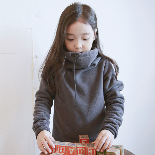 2017 chicas coreanas fleece winter clothing niños de las muchachas de suéter de cuello plus velet fabricantes del bebé embroma la ropa 4-9 edad