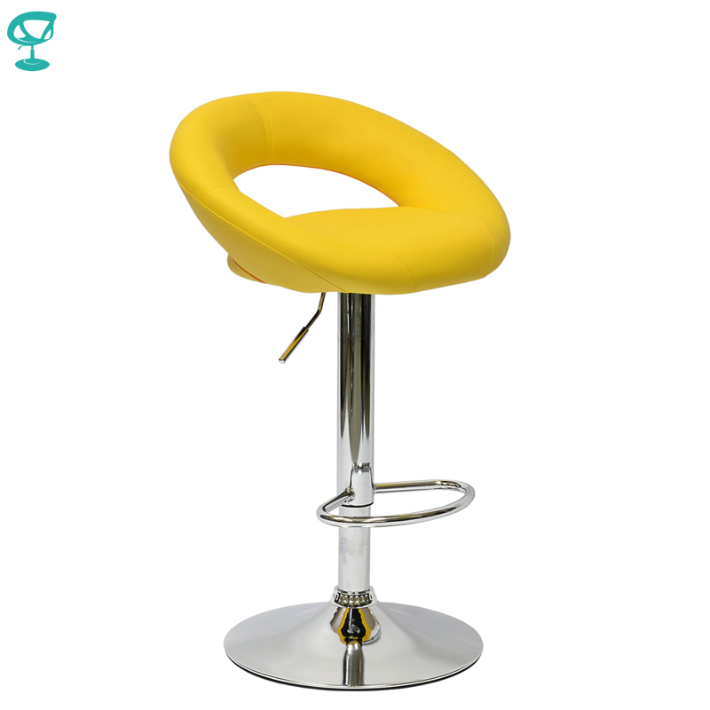 94636 Barneo N-84 Leather Kitchen Breakfast Bar Stool Swivel Bar Chair Yellow Color Free Shipping In Russia