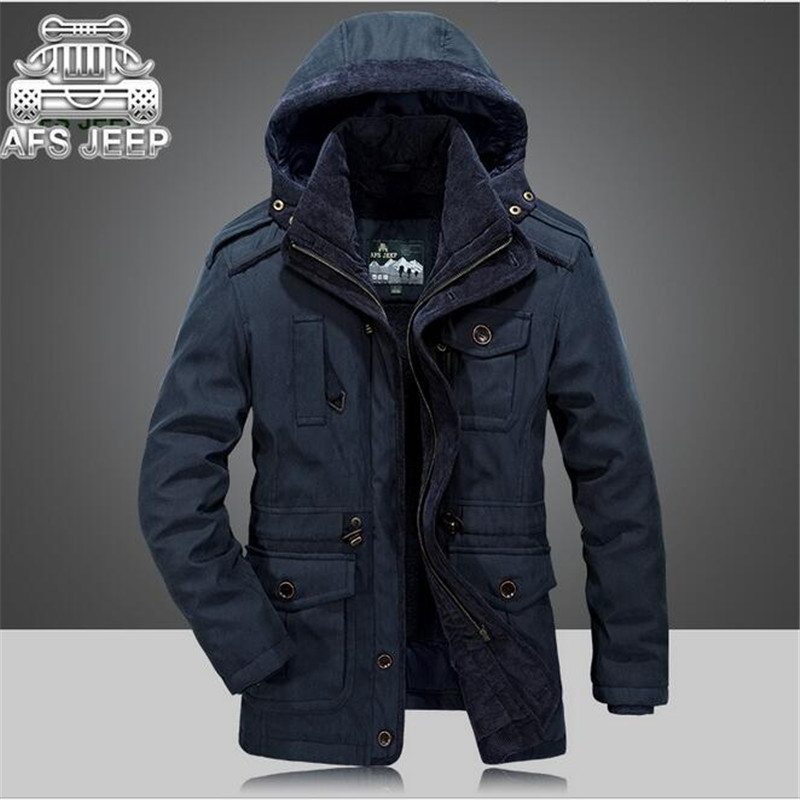 AFS JEEP Blue/Army Green/Khaki Men's 2017 Thickness Cashmere Inner Coat, High Quality Mans Detachable Hooded Russian Winter Coat blue sky cashmere blue sky cashmere кашемировый кардиган с шелком 160842