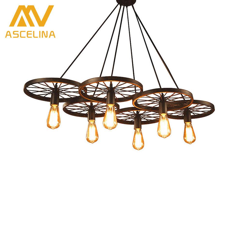 Hot Selling american Vintage Wheel loft Pendant Light Creative Personality Industrial lights Edison Bulb lamp For Living Room