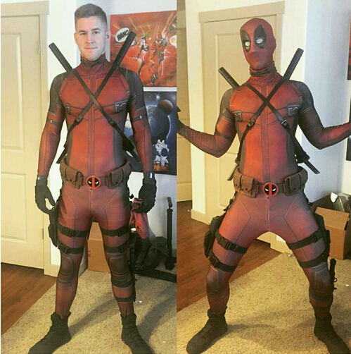 free shipping Hot Marvel Halloween Cosplay Full Body Deadpool Costume Adult Digital Print Lycra Costume Kids Deadpool Cosplay kangaroo pocket skull print pullover hoodie