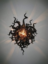 лучшая цена Hand Blown Glass Wall Sconce Custom Black Color Crystal Wall Lamps with LED Bulbs