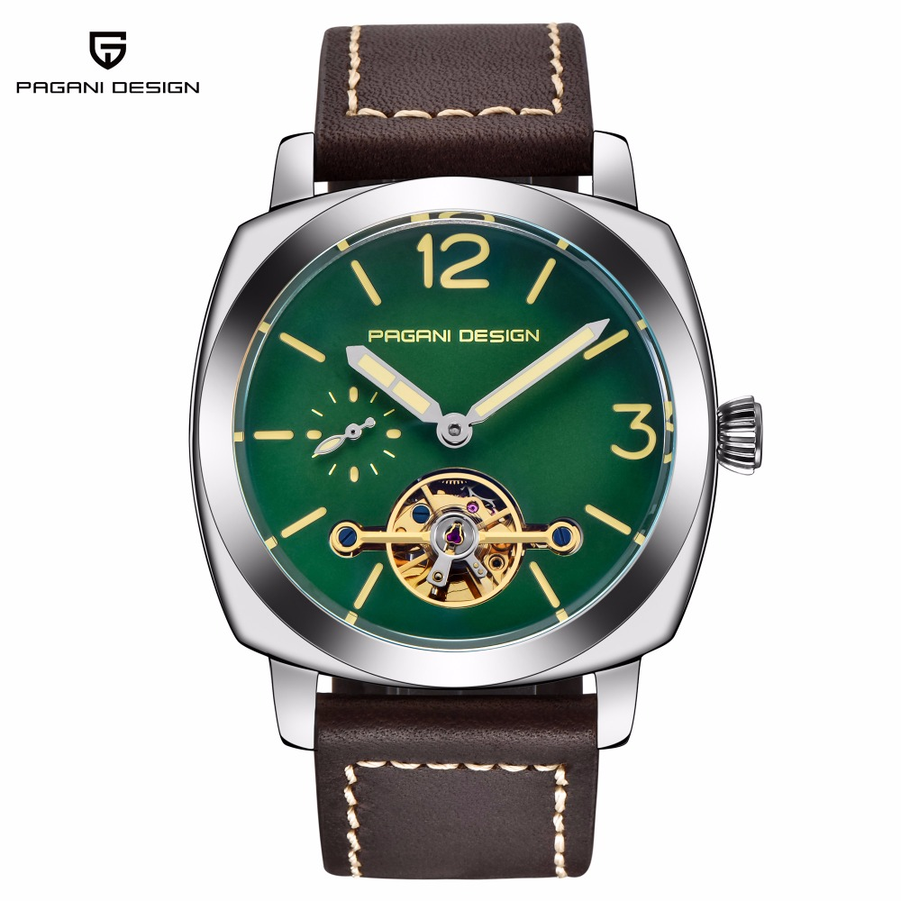 PAGANI DESIGN Top Brand Luxury Mens Watches Automatic Mechanical Watch Men Leather Waterproof Tourbillon Men's Clock erkek saat-in Mechanical Watches from Watches    1
