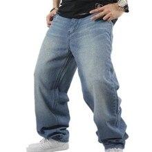 SHIERXI Manกางเกงยีนส์หลวมHiphopสเก็ตบอร์ดกางเกงยีนส์BaggyกางเกงDenimกางเกงHip Hopผู้ชายAd Rapกางเกงยีนส์4 Seasons Bigขนาด30 46