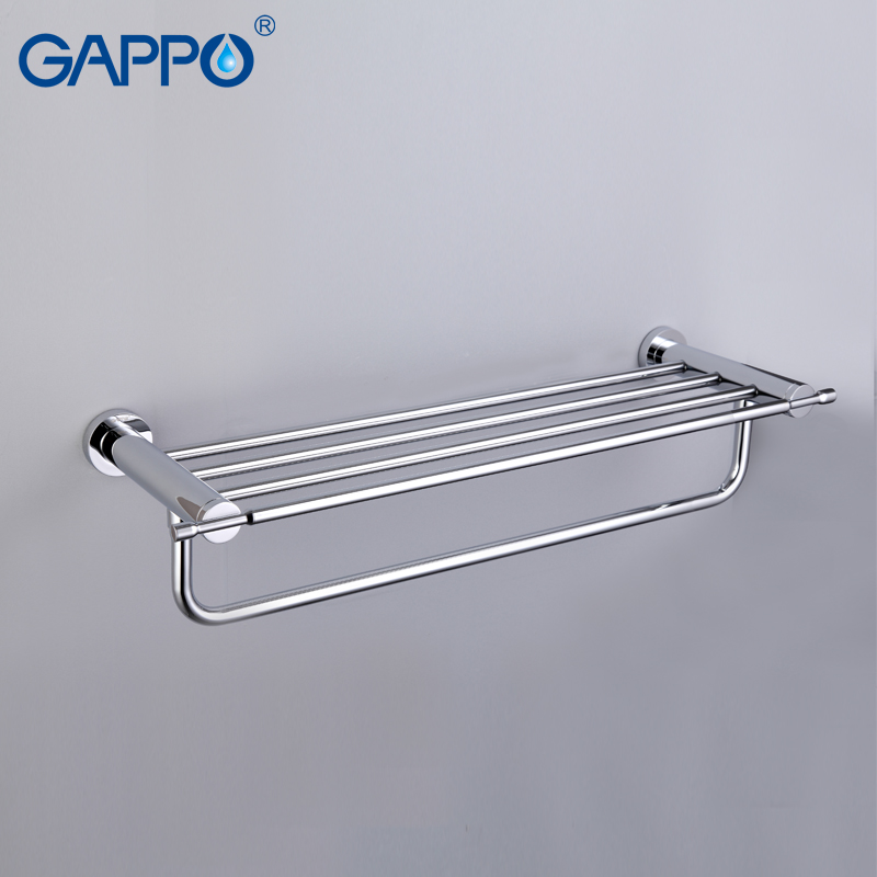 GAPPO Bathroom Shelves towel Rack bathroom towel holder Bath Storage Shelf Wall Mount Bathroom Accessories nail free foldable antique brass bath towel rack active bathroom towel holder double towel shelf with hooks bathroom accessories