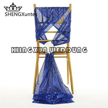 Royal Blue kolor cekinowe krzesło typu chiavari Sash kaptur na wesele dekoracje na imprezy okolicznościowe tanie i dobre opinie SHENGXuntex Gładkie barwione 35cm*275cm Restauracja Domu Samolot CHIASEQUIN-1ROYAL BLUE HANDMADE 100 poliester WEDDING