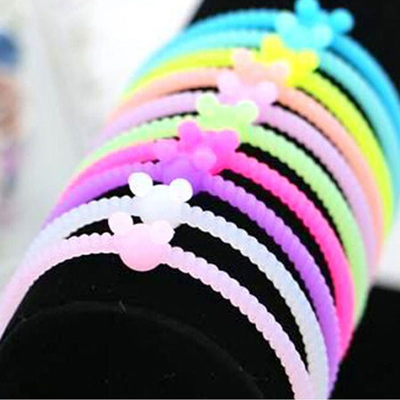 2017 5pcs Women Adult Solid Elastic Hair Bands Hot New Fashion Luminous  Silicone Bracelet Hair Ring Rope Rubber Band -in Women s Hair Accessories  from ... 6d12de5a135
