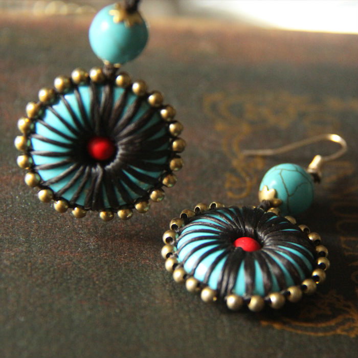 Thailand turquoise fashion Jewelry wholesale ethnic copper braid Earrings