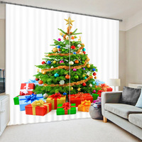 2017 Christmas Tree 3D Photo Printing Blackout Curtains For Bedding Room Living Room Drapes Cortinas Para