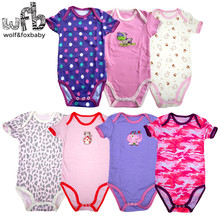 Retail 0-2years 5pcs/pack short-Sleeved Baby Infant cartoon bodysuits for boys girls jumpsuits Clothing цена 2017