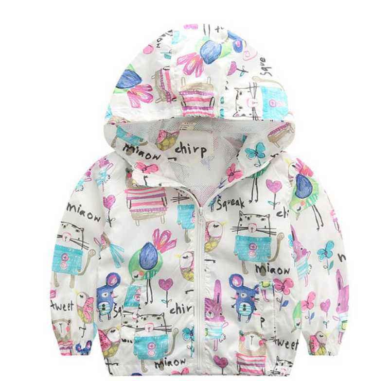 CUte Rabbit Graffiti Kids Jacket For Girls Trench Coats Spring Sunscreen Clothing Comfortable Girl Jackets Girls Outerwear Coats (2)